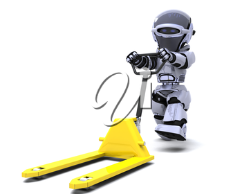 3D render of Robot with yellow pallet truck