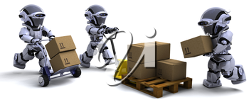 3D render of Robot with Shipping Boxes