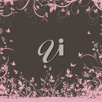Decorative background with floral elements and butterflies