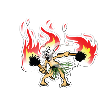 Royalty Free Clipart Image of a Fiery Tiki