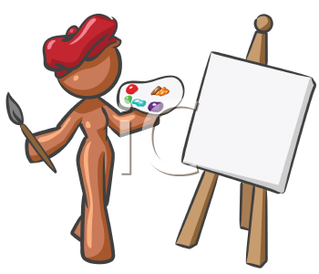 Royalty Free Clipart Image of an Artist with a Red Beret