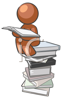 Royalty Free Clipart Image of a Person Sitting on a Stack of Books