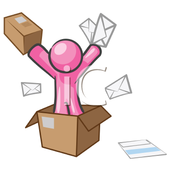 Royalty Free Clipart Image of a Pink Man in a Box