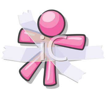 Royalty Free Clipart Image of a Taped Down Pink Guy