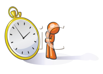 Royalty Free Clipart Image of a Guy in Front of a Watch