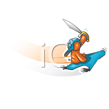 An orange man on a flying carpet swooping in from the sky with  a sword ready to attack.