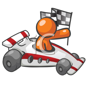 Orange Man Sitting in a race car and holding a checkered flag.
