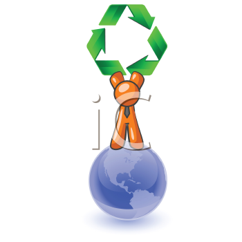 An orange man standing on top of the earth holding a large recycling symbol. Good concept for environmental earth preservation.