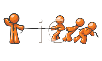 An orange man holding a rope while three others pull against it, obviously no contest!