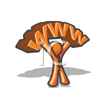 An orange man holding up a WWW, advertizising his role as a website creator.