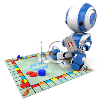 A blue robot playing a generic board game. Good for concepts involving strategy, entertainment, etc.