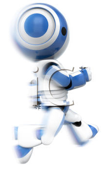 A blue robot running. A dynamic pose that can be used for anything involving urgency, speed, determination, racing, services...anything!