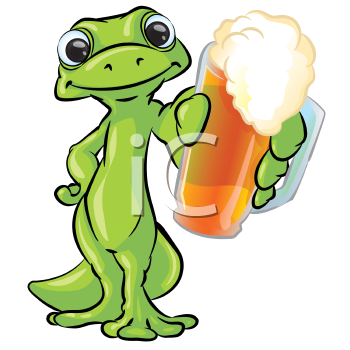 Royalty Free Clipart Image of a Gecko With a Beer
