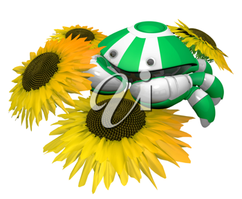 Royalty Free Clipart Image of a Crab Robot with Sunflowers