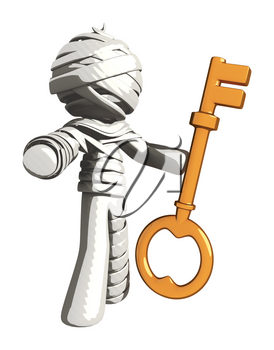 Mummy or Personal Injury Concept Holding a Large Key while Gesturing