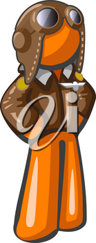 Orange person aviator pilot with goggles and hat, leather jacket, classic style. Good travel and adventure mascot of a relatively steampunk style.