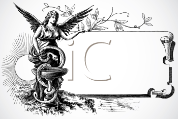 Royalty Free Clipart Image of an Angel Frame
