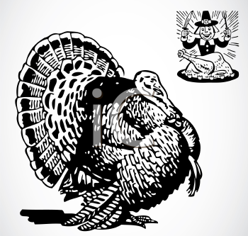 Royalty Free Clipart Image of a Turkey and a Pilgrim Feasting on Roast Turkey