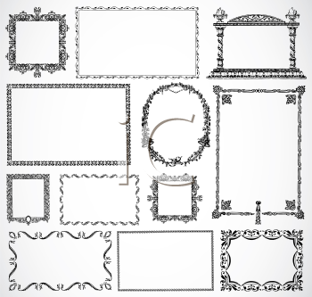 Royalty Free Clipart Image of a Set of Frames