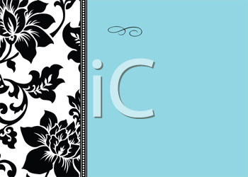 Royalty Free Clipart Image of Black and White Flowers on the Left and Blue Space on the Right