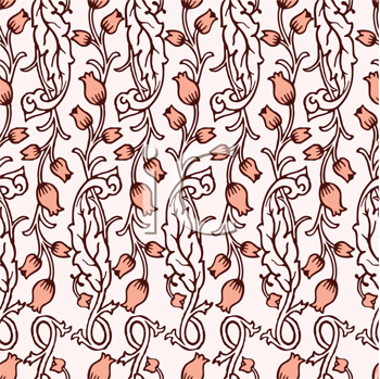 Royalty Free Clipart Image of a Tulip Pattern