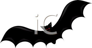 Royalty Free Clipart Image of a Bat With Red Eyes