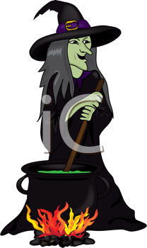 Royalty Free Clipart Image of a Witch at a Cauldron