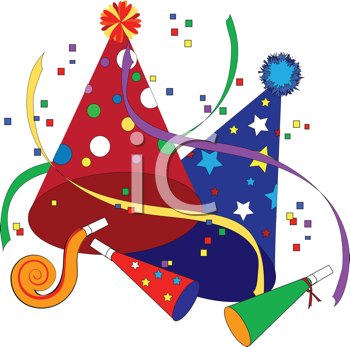 Royalty Free Clipart Image of Party Hats and Noisemakers