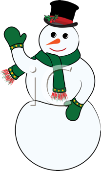 Royalty Free Clipart Image of a Waving Snowman