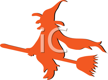Royalty Free Clipart Image of a Silhouetted Orange Witch