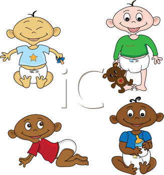 Royalty Free Clipart Image of Babies Playing