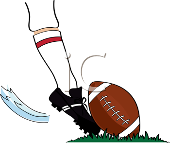 Royalty Free Clipart Image of a Foot Kicking a Football