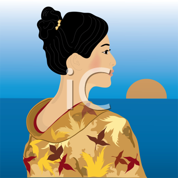 Royalty Free Clipart Image of a Geisha Wearing a Gold Kimono