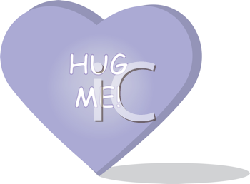 Royalty Free Clipart Image of a Cartoon Heart That Reads Hug Me