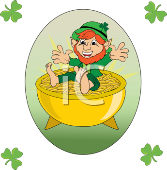 Royalty Free Clipart Image of a Leprechaun Sitting on a Pot of Gold