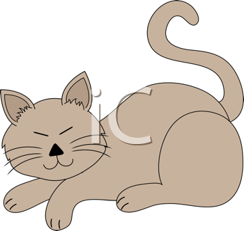 Royalty Free Clipart Image of a Cartoon Cat
