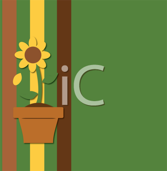 Royalty Free Clipart Image of a Sunflower Potted Plant Background