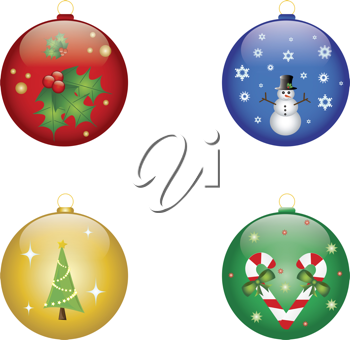 Clip art illustration of four Christmas ornaments with holiday designs on them.
