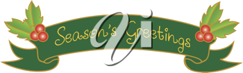 Clip art illustration of a Season's Greetings message on a scroll decorated with holly leaves and berries.