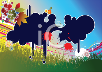 Royalty Free Clipart Image of an abstract Background With Blue Blobs in the Centre and Flowers in the Top Corner