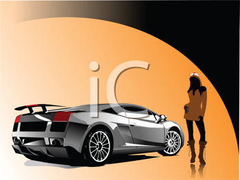 Royalty Free Clipart Image of a Girl Posing Beside a Luxury Car