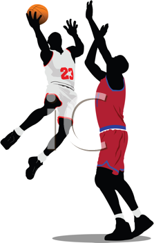 Royalty Free Clipart Image of Two Basketball Players