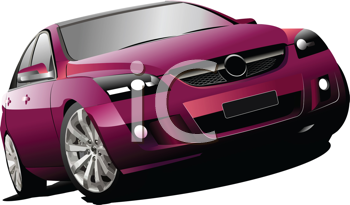 Royalty Free Clipart Image of a Purple Sedan