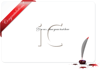 Royalty Free Clipart Image of a Congratulations With Ink and a Quill Pen in the Corner