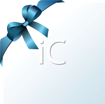 Royalty Free Clipart Image of a Soft Blue Page With a Blue Bow