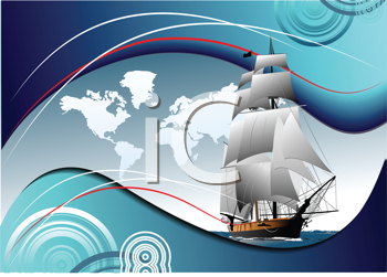 Royalty Free Clipart Image of a Ship and a Map of the World on a Blue Background