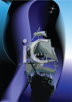 Royalty Free Clipart Image of a Sailing Vessel at Night
