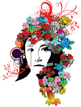 Royalty Free Clipart Image of a Girl With Flowers in Her Hair