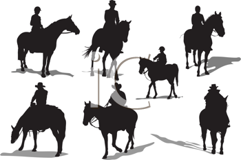 Royalty Free Clipart Image of Horses and Riders