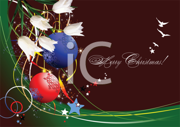 Royalty Free Clipart Image of a Merry Christmas Greeting With Ornaments and Birds